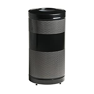 Rubbermaid Commercial Perforated Steel Trash Can, 25 Gallon, Black, FGS3ETBKPL