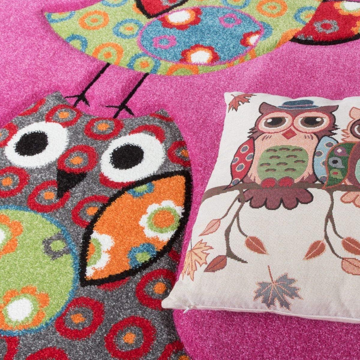 magenta Polypropylene TT Home Childrens Bedroom Rug with Contour Cut Design Pink Fuchsia Green Cream 80 x 150 cm