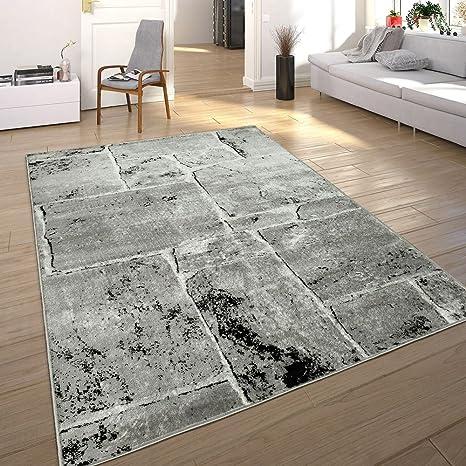 Paco Home Designer Teppich Modern Trendig Meliert Steinoptik Mauer Muster  Wohnzimmer Grau, Grösse:240x340 cm
