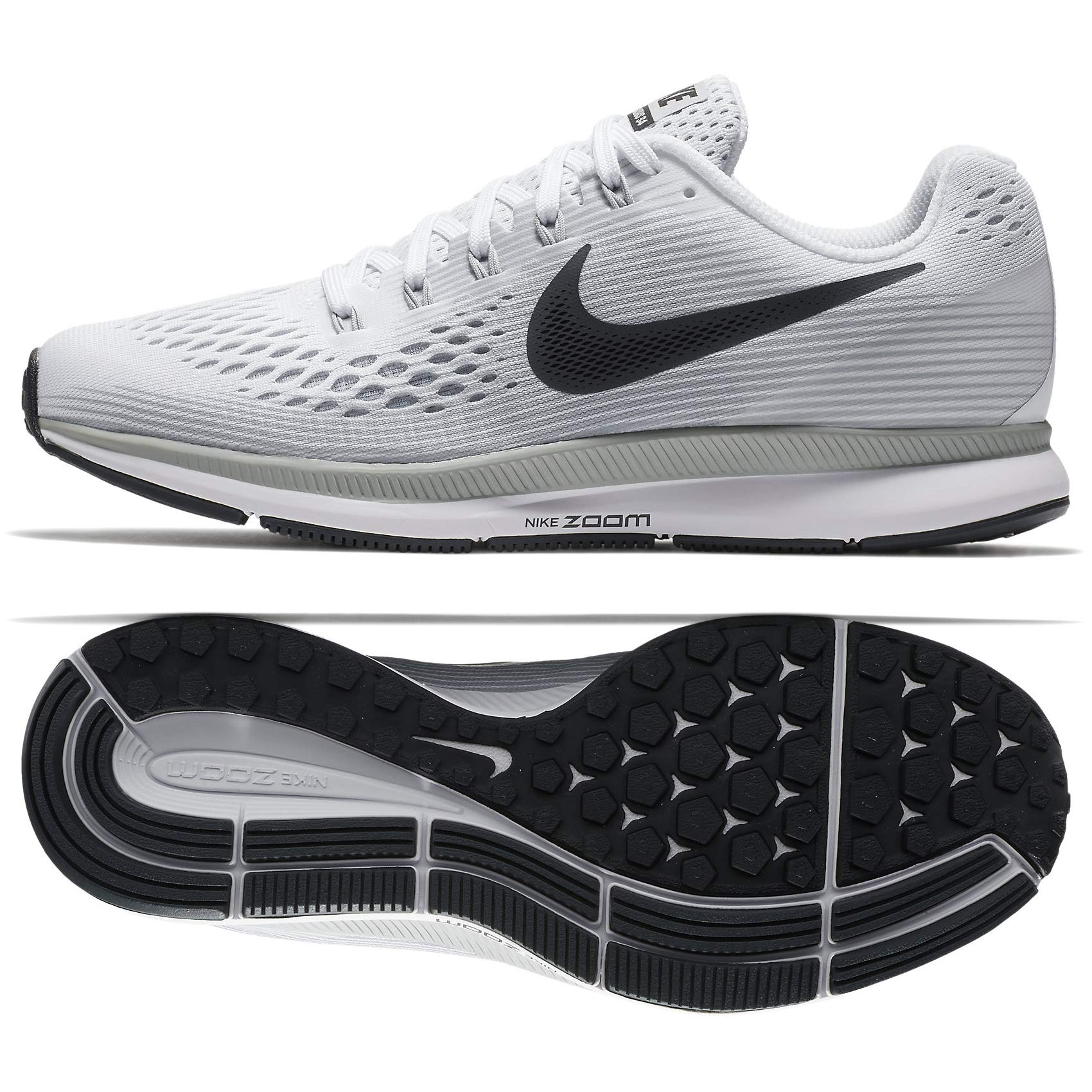 919b6156272b4 Nike Women's WMNS AIR Zoom Pegasus 34, White/Anthracite-Pure Platinum, Size  8