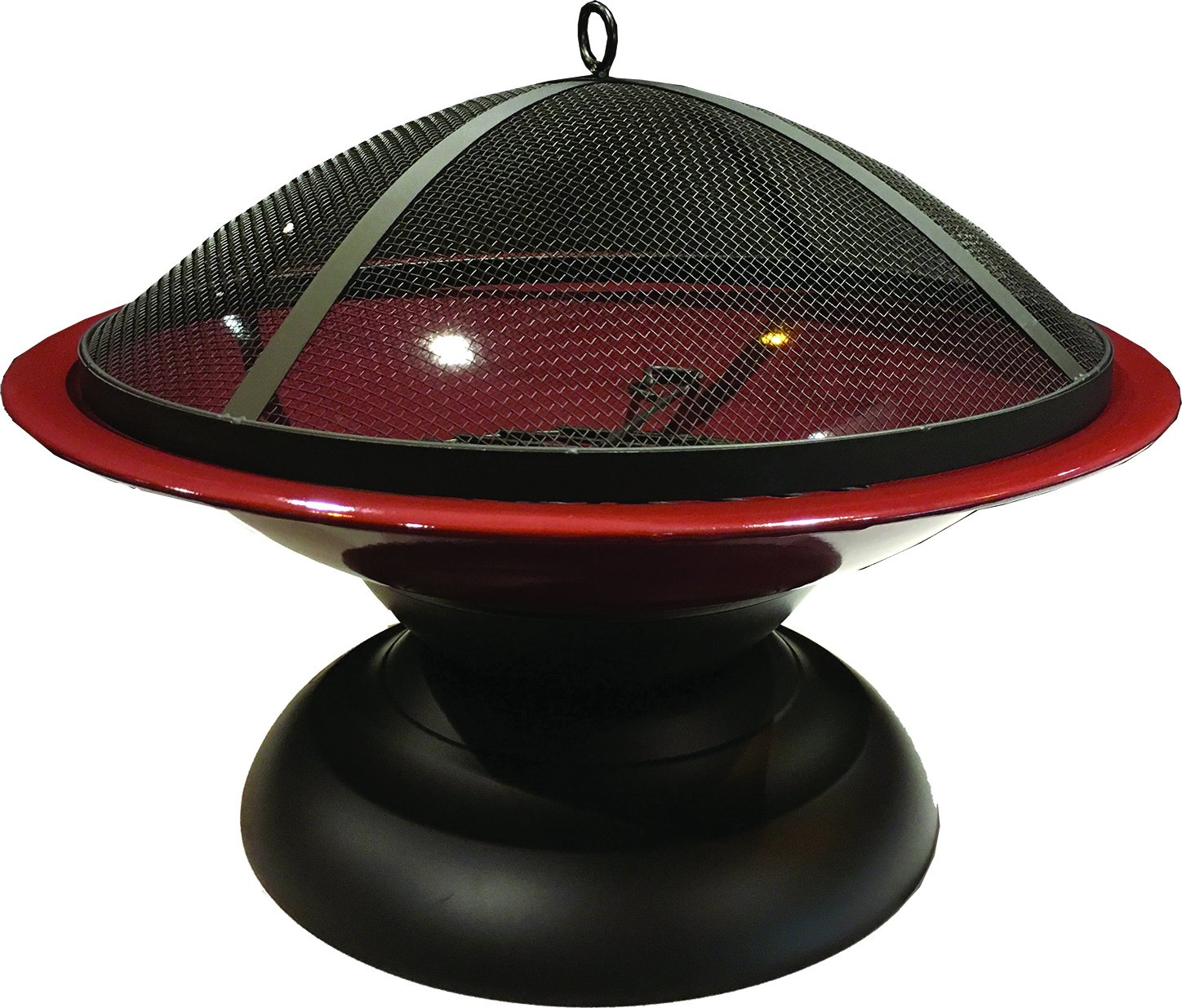 Harbor Gardens LF273AOXBL Vesta Ox Blood Red Enameled Fire Bowl/Pit, Powder Coated Steel - Heat-resistant, powder coated Steel bowl Mesh fire screen with high temperature paint Screen Lift tool and wood grate included - patio, outdoor-decor, fire-pits-outdoor-fireplaces - 81KeqknF5KL -