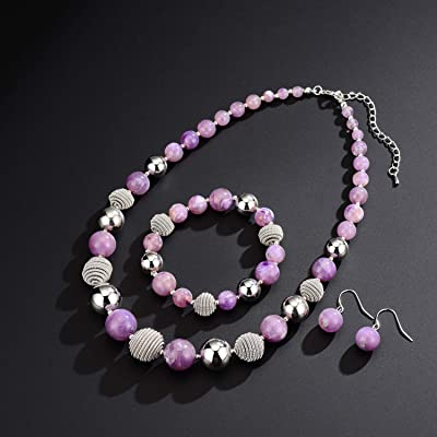 Agate and Metal Beaded Jewelry Necklace and Earring Set Statement Piece.