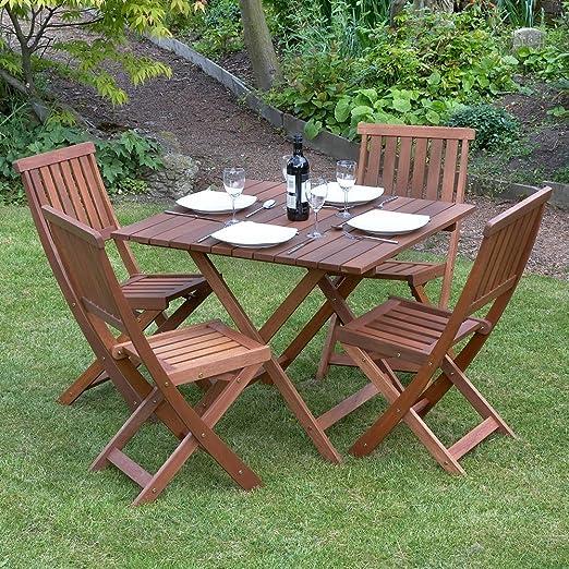 Juego de mesa y 4 sillas de madera para jardín: Amazon.es: Jardín