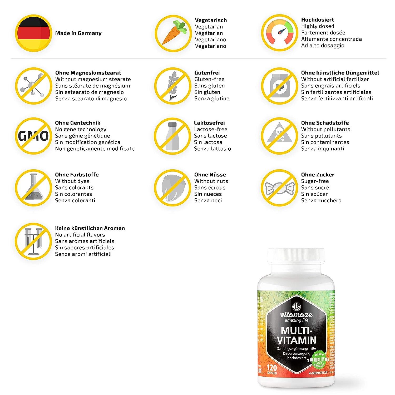 Cápsulas multivitamínicas de alta dosis, 23 valiosas vitaminas A-Z, sustancias minerales y oligoelementos, 120 cápsulas vegetarianas durante 4 meses SIN ...