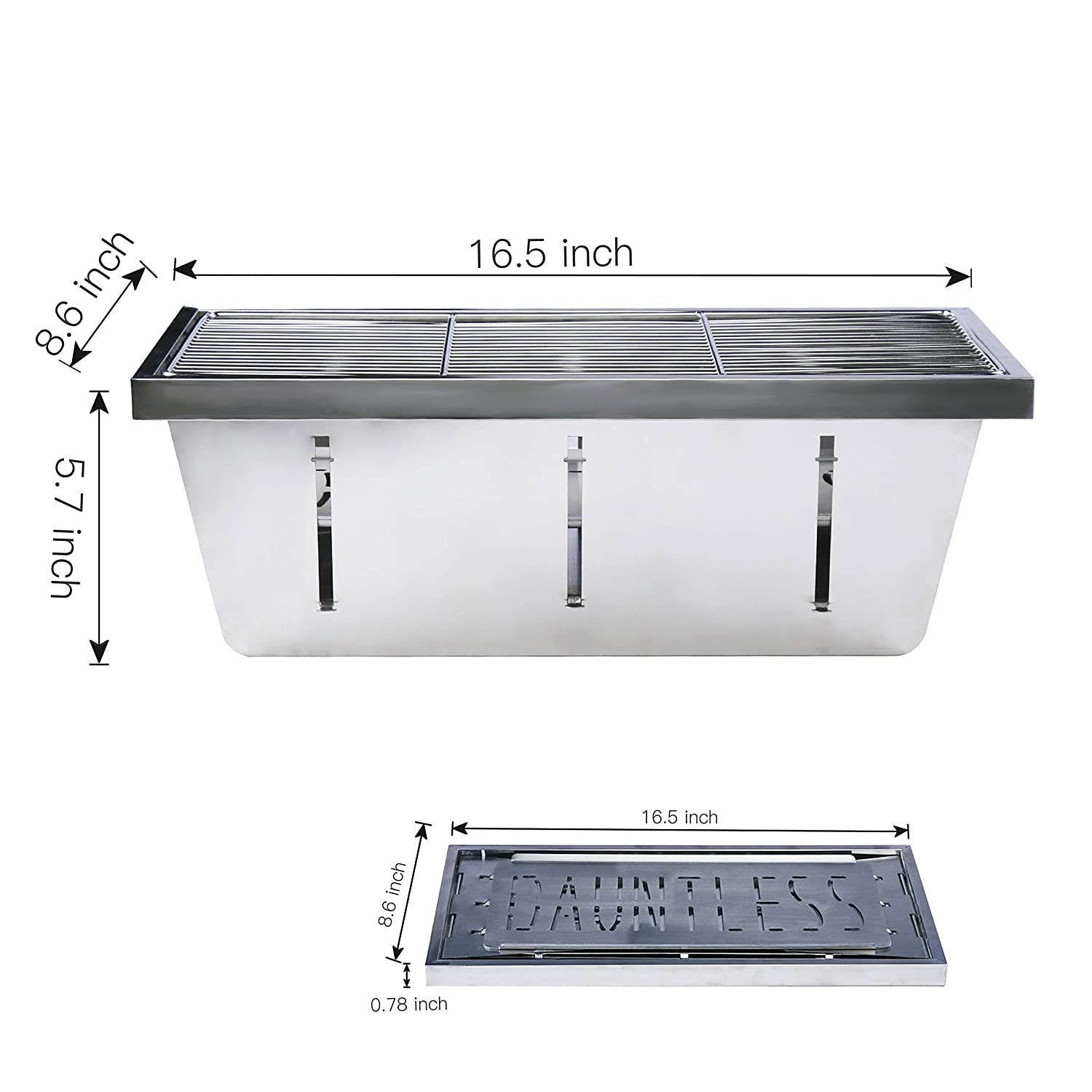 DAUNTLESS 304 Stainless Steel Food Grade Portable Charcoal Barbecue Grills, Foldable Grill Smoker Box for Outdoor Grill, Camping Grill and Backyard Grill Grill