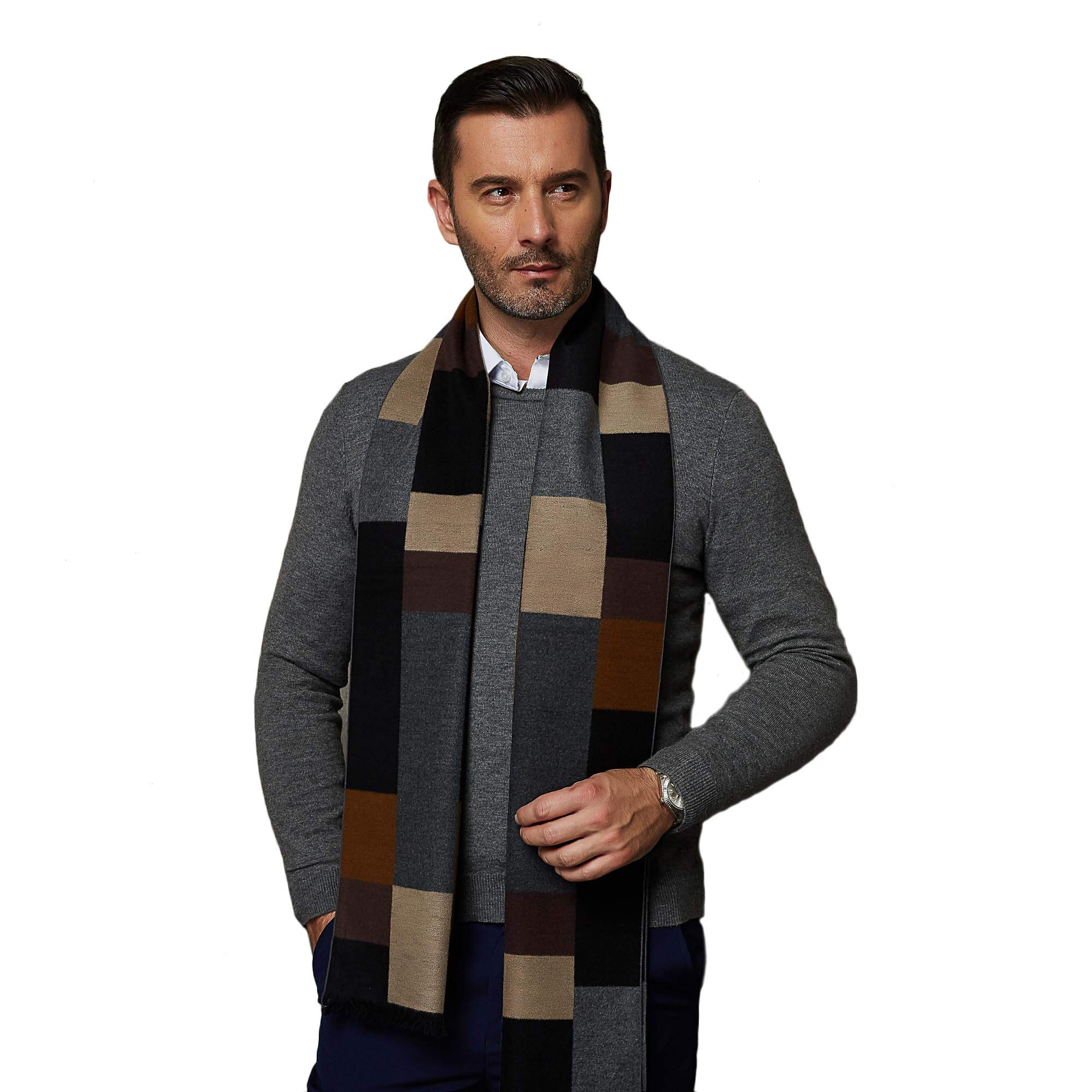 CUDDLE DREAMS Men's Silk Scarves, 100% Mulberry Silk Brushed, Luxuriously Soft (Plaid Black Camel)