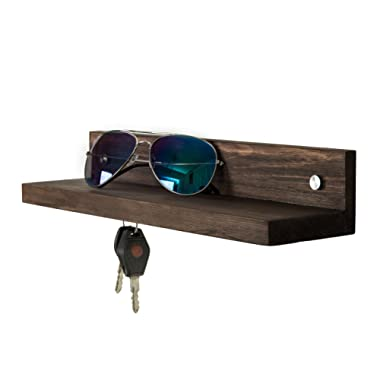 Contemporary Dark Brown Wood 14-Inch Wall Mounted Floating Shelf with 3 Magnetic Key Holders