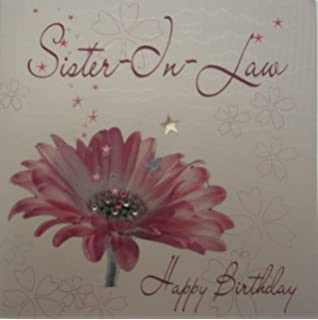 WHITE COTTON CARDS Sister In Law Happy Handmade Birthday Card Pink Gerbera
