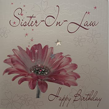 White Cotton Cards Sister In Law Happy Handmade Birthday Card Pink