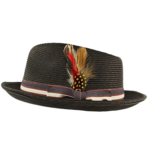 3703b9c709e Men s Stripe Band Removable Feather Derby Fedora Curled Brim Hat S M Black