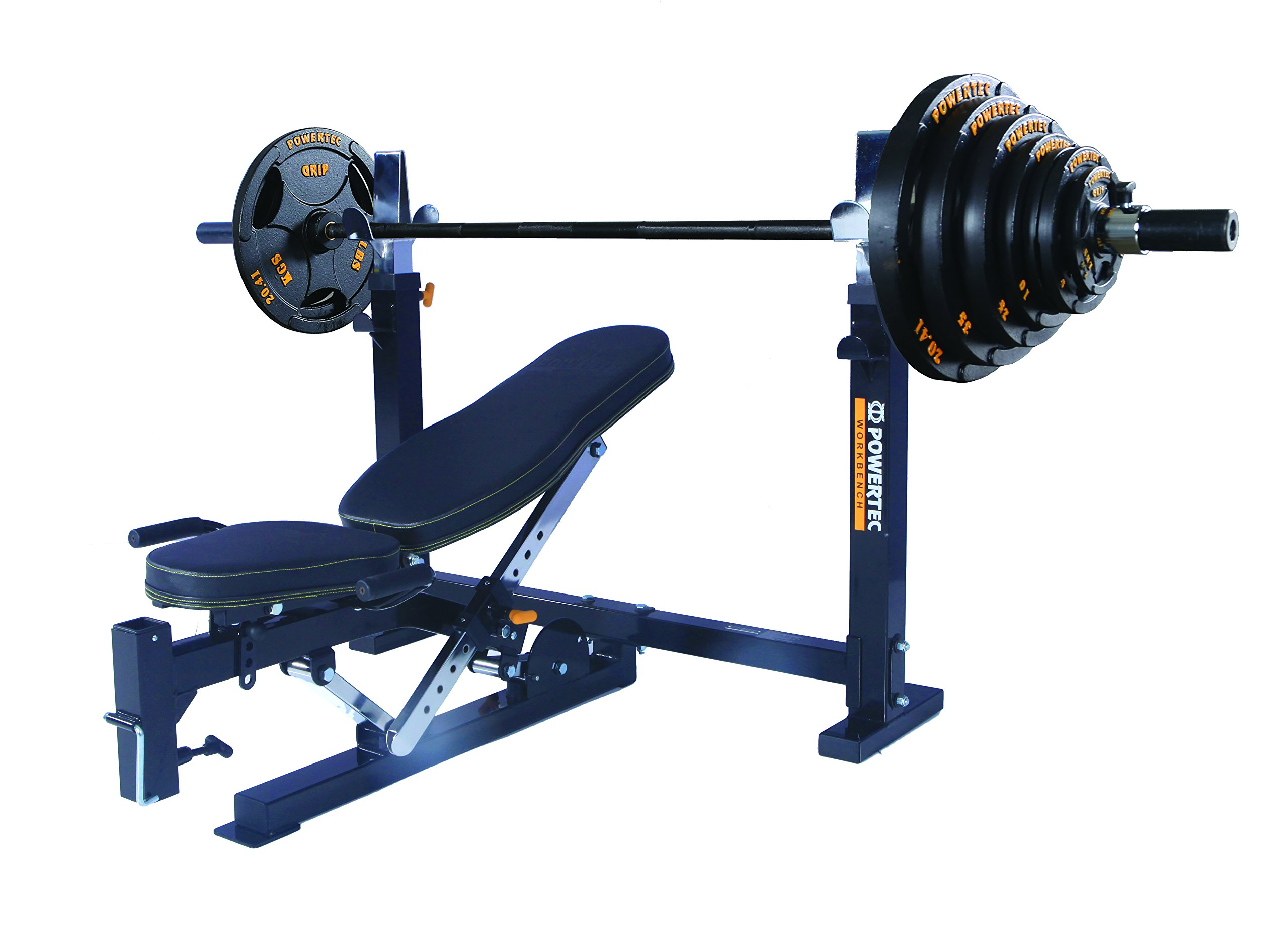 Powertec Workbench Olympic Bench (WB-OB15) + Olympic Bar and Weight Set (OS-300-B) by Powertec Fitness