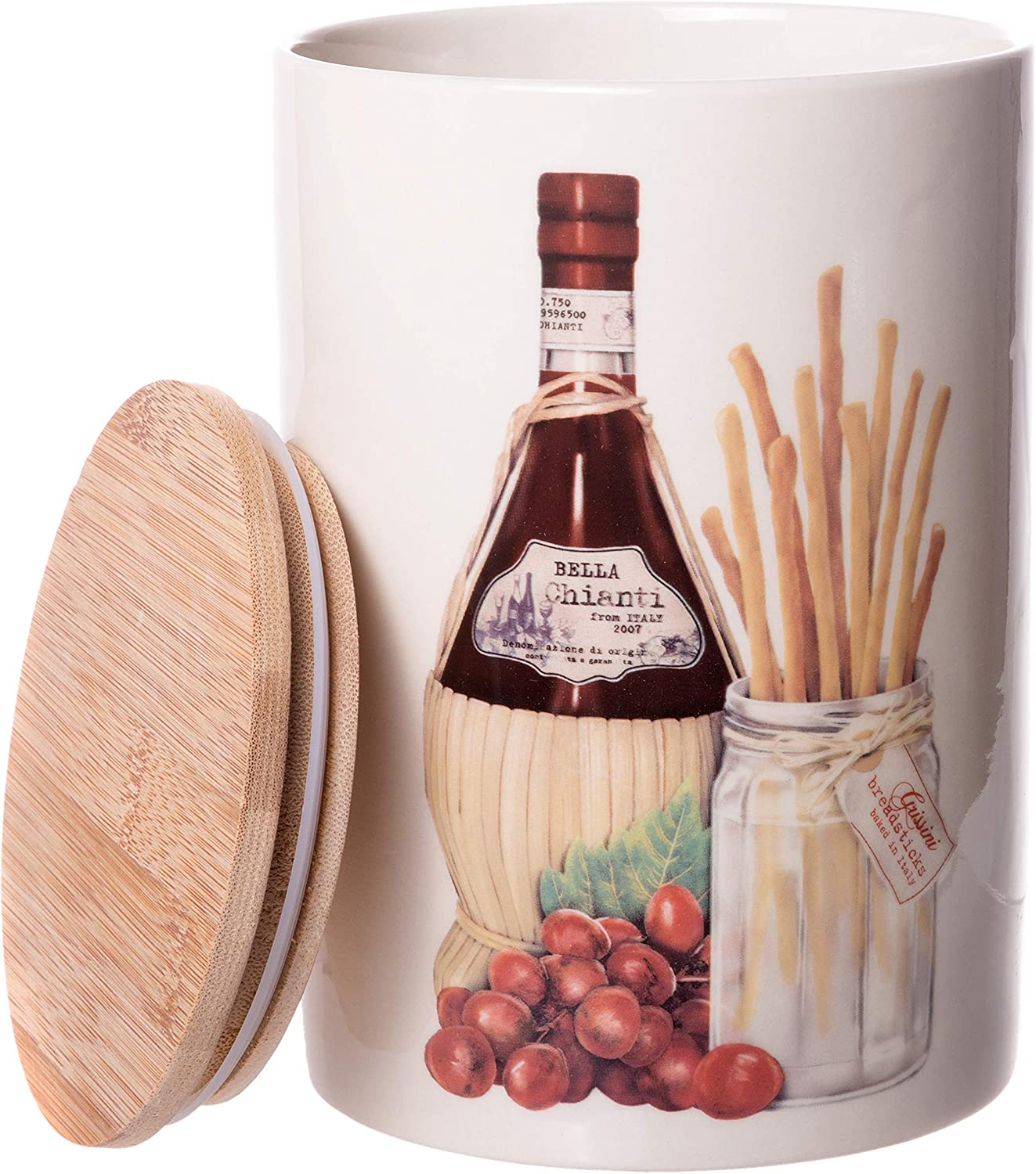 Round Stoneware Canister - Wine & Breadsticks - Food Storage Jar with Airtight Bamboo Lid