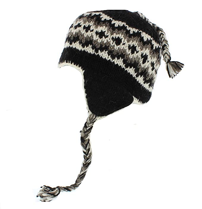 33a3efac8 The Hat Company Knitted Nepal 100% Wool Beannie/Trapper/Earflaps  (Mens/Ladies/Unisex)
