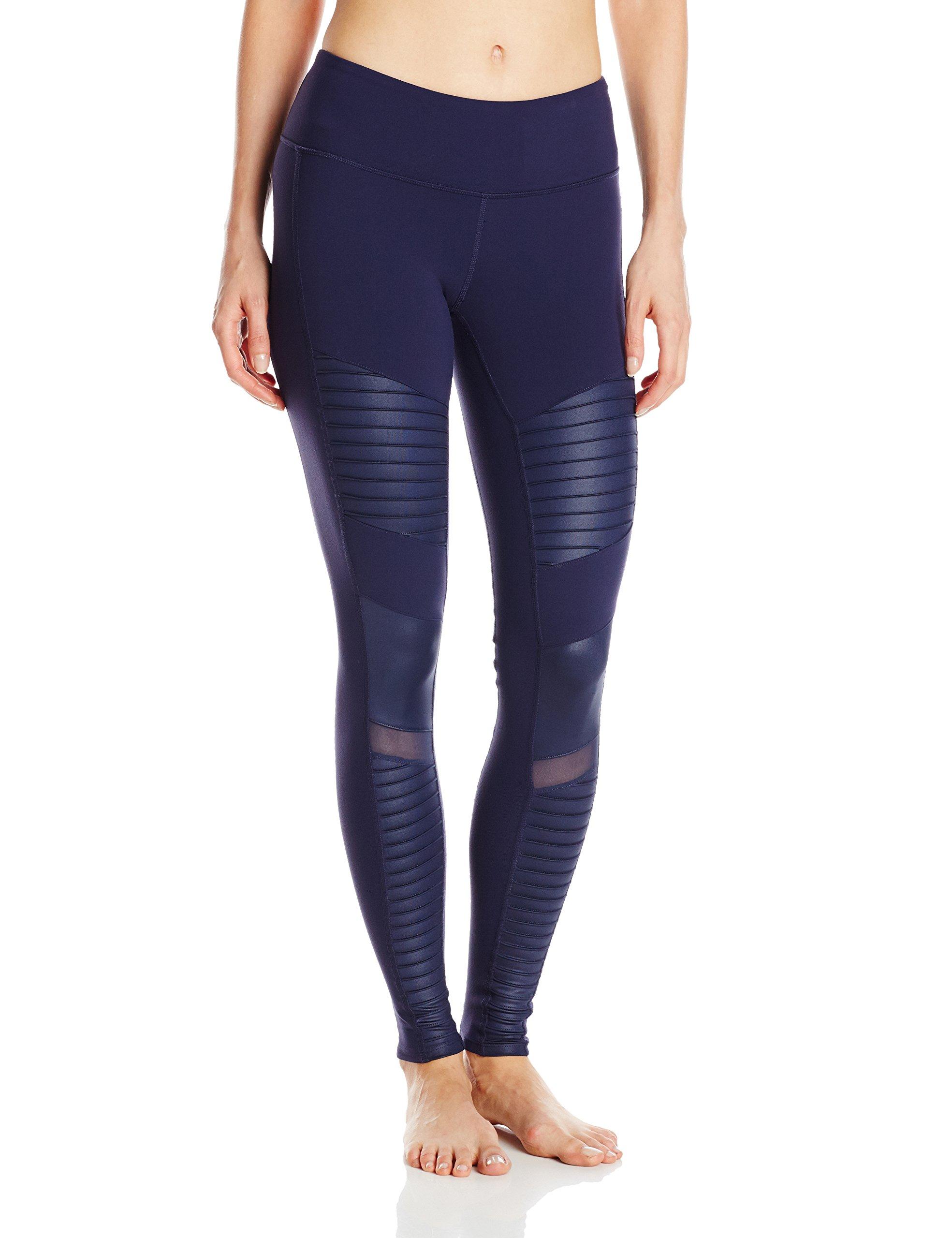 Alo Yoga Women's Moto Legging Pants, Rich Navy/Rich Navy Glossy, S
