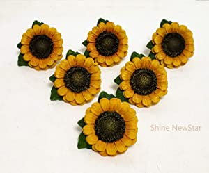 SnS Sunflower Vintage Kitchen Resin Drawer Pulls Cabinet Knobs Handles Country Home Decoration (Pack of 6)