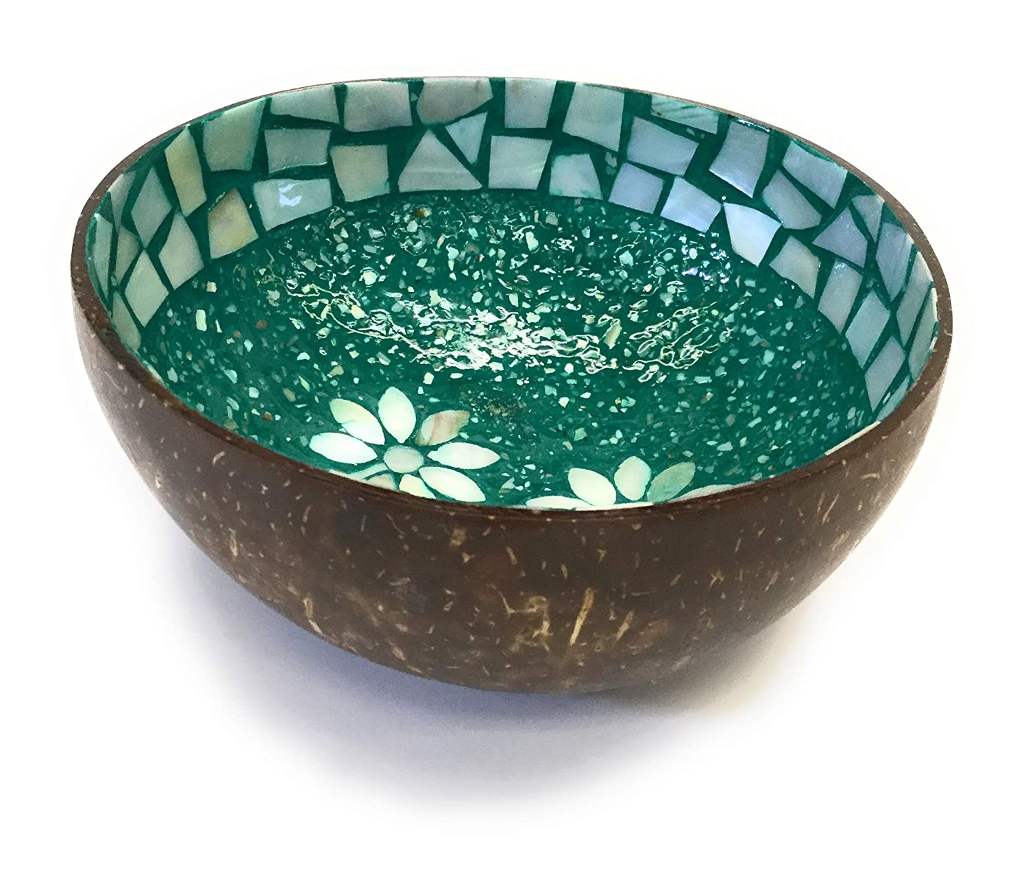 CocoVN Beautiful Decorative Handmade Vietnamese Lacquered Natural Coconut Shell Bowls Flower Mother of Pear Inlaid Green