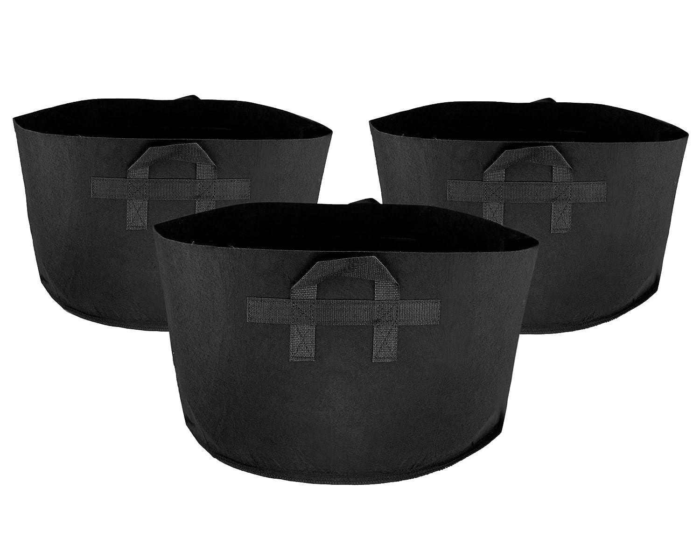FiveSeasonStuff 5 Pack 1 Gallon Black Non-woven Fabric Grow Bags/Reusable Garden Plant Growing Bags/Planter Bags/Nursery Bags/Fabric Pots Containers Pouches, 18cm x 18cm x 15cm