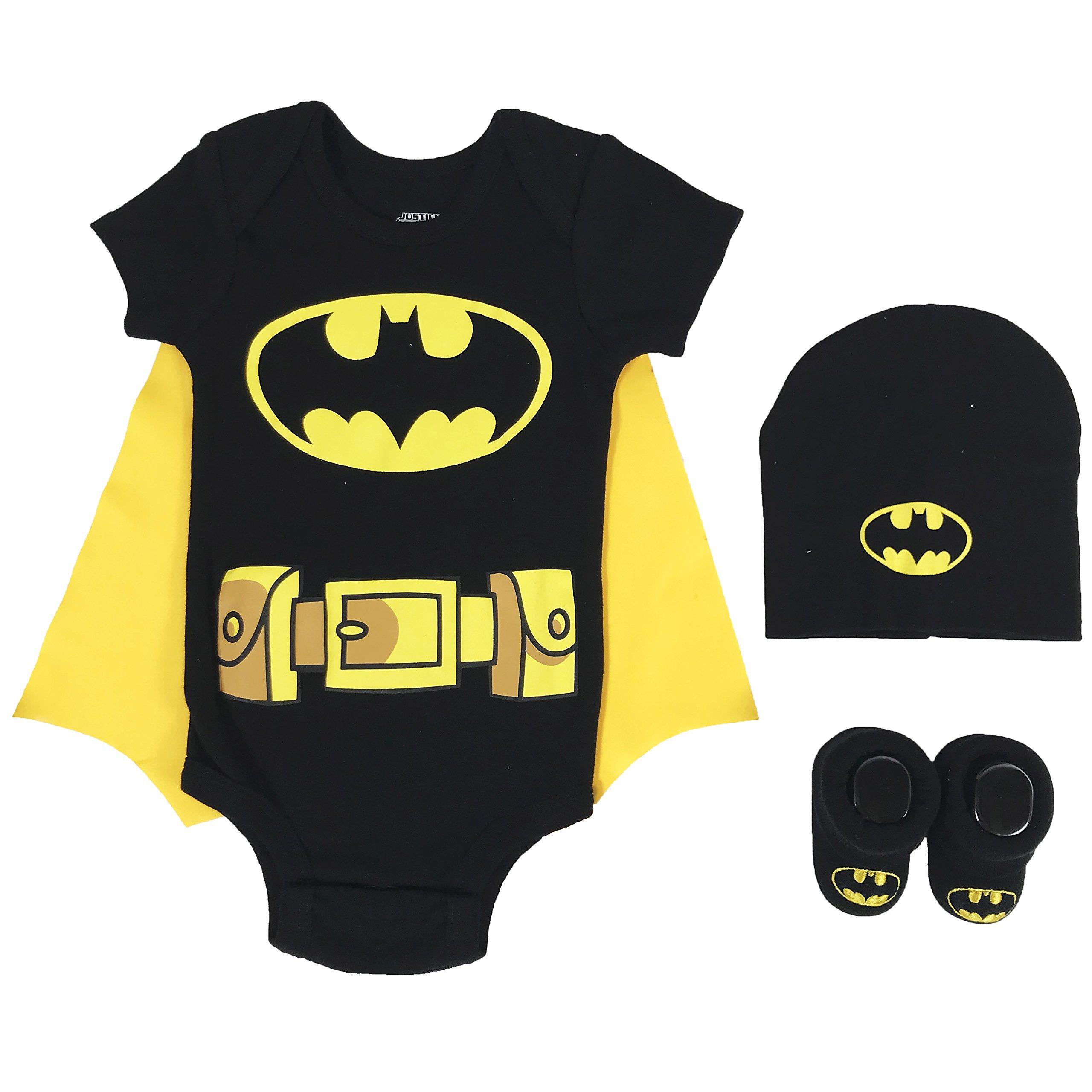 DC Comics Baby Boys Superman, Wonder Woman, Flash, Batman 3-Pc Set in Gift Box, Batman Black, 0-6