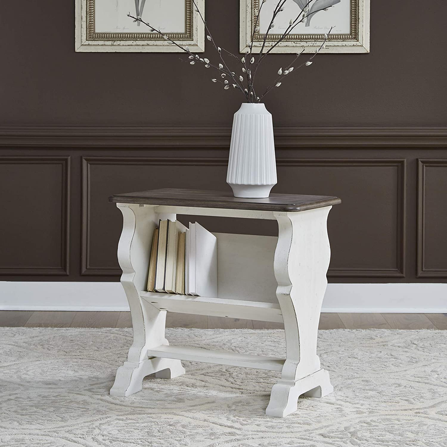 Liberty Furniture Industries Abbey Road Library Chair Side Table, Porcelain White