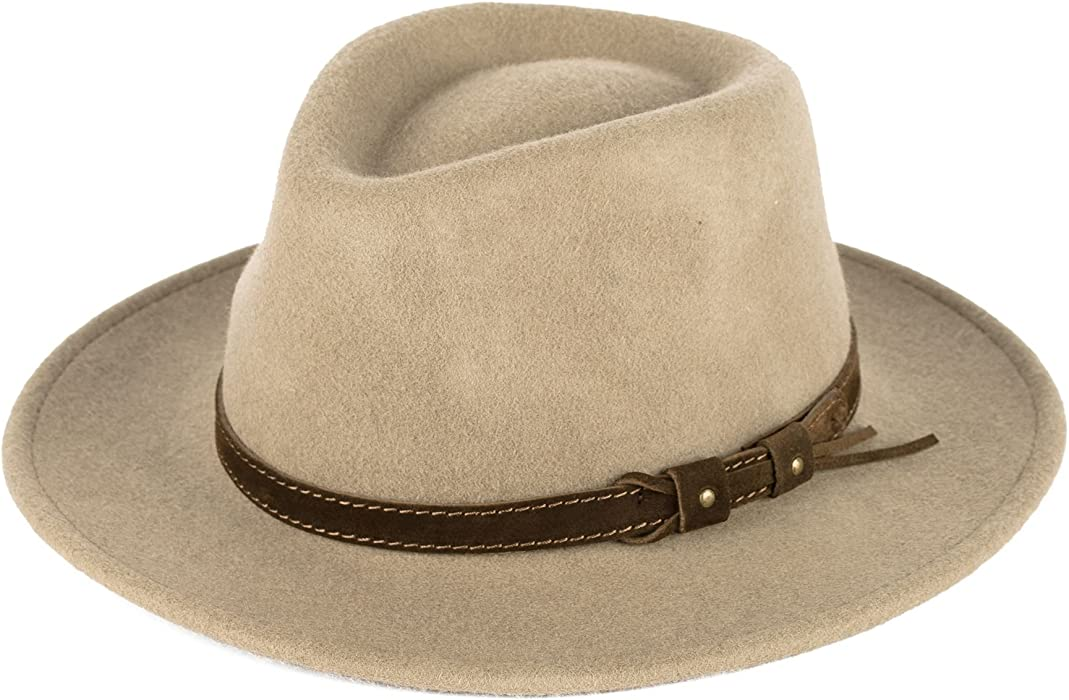 6dfd409bb325a Beige Wool Fedora Hat with Leather Belt Waterproof   Crushable Handmade in  Italy