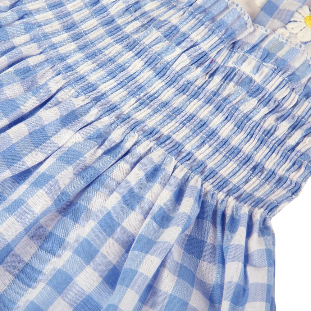 1-6 Years Child Daisy Sunflower Fresh Plaid Dress Tube Top Dress Baywell Toddler Kids Baby Girls Camisole Backless Dress