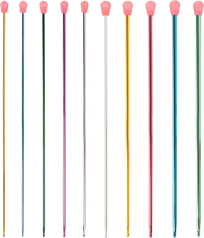 Vaorwne 11 PZ 27cm Aghi Uncinetto Uncinetto Tunisino in Alluminio Multicolore 2-8mm