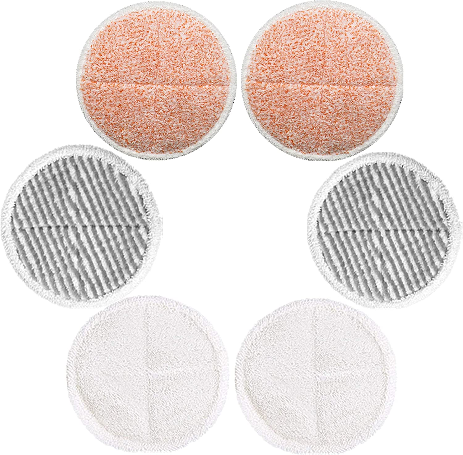 CKL&DJ 6 Pack Mop Pads Replacement for Bissell Spinwave 2039A 2124 (Included 2 Soft Pads+2 Scrubby Pads+2 Heavy Scrub Pads)