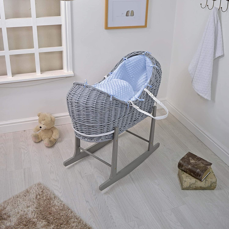 Cuddles Collection Wicker Pod, Grey/Blue Dimple Cuddles Collection Ltd CCU11236