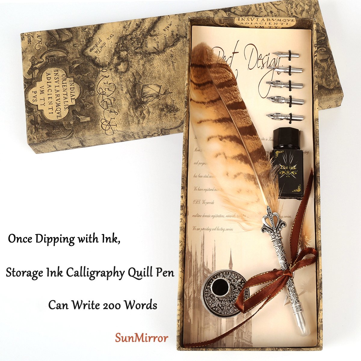 Calligraphy Quill Pen Ink Set, SunMirror Antique Feather Dip Pen Kit Writing Quill Storage Ink Dip Pen Gift Set (Owl)