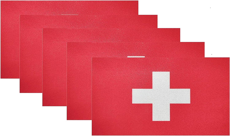 HSQCEZ 5 Pcs Switzerland Flag Vinyl Decal , Tactical Swiss Flag Decal Sticker, Swiss Stickers for Vehicles Car Window Bumper 2.5 x 4.5 Inch