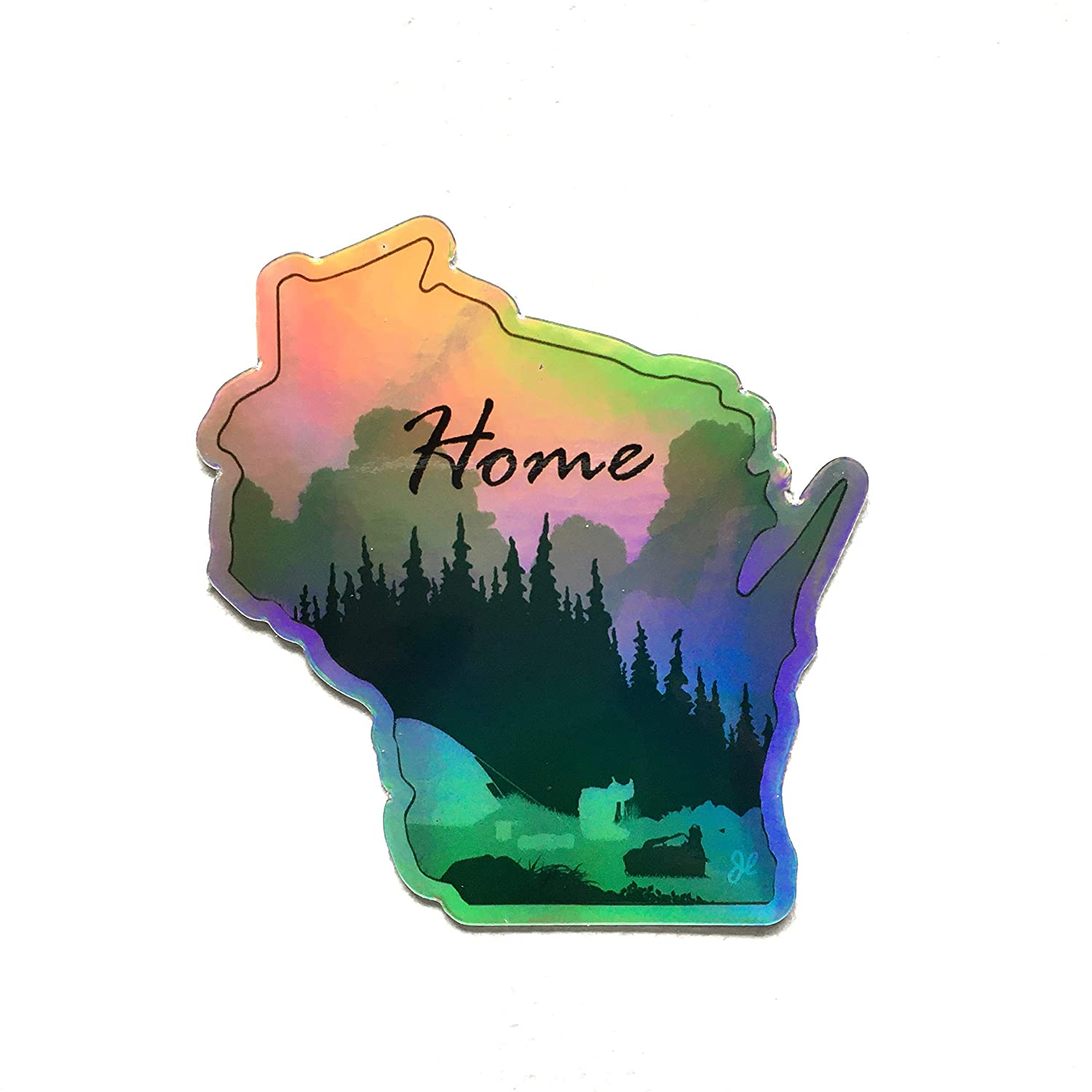 3 Pack for Laptops Holographic Planners Heavy Duty Vinyl Water Bottles Wisconsin Stickers