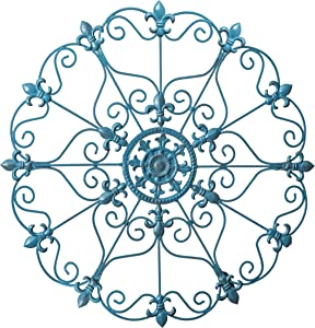 Besti Iron Wall Medallion - Antique Metal Decor with Distressed Finish - Elegant & Classy Rustic-Style Decorative Accent with 16-Inch Diameter - Teal Hanging Art for Patio, Bedroom, and Living Room