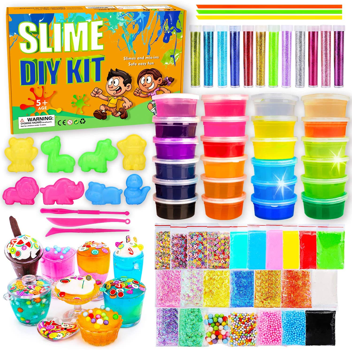 DIY Slime Kit-Ultimate Glow in The Dark Glitter Slime Making Kit- Slime Kit for 3 4 5 6 7 8 9 10 11 12 Year Old Girl and Boy Party Best Choice