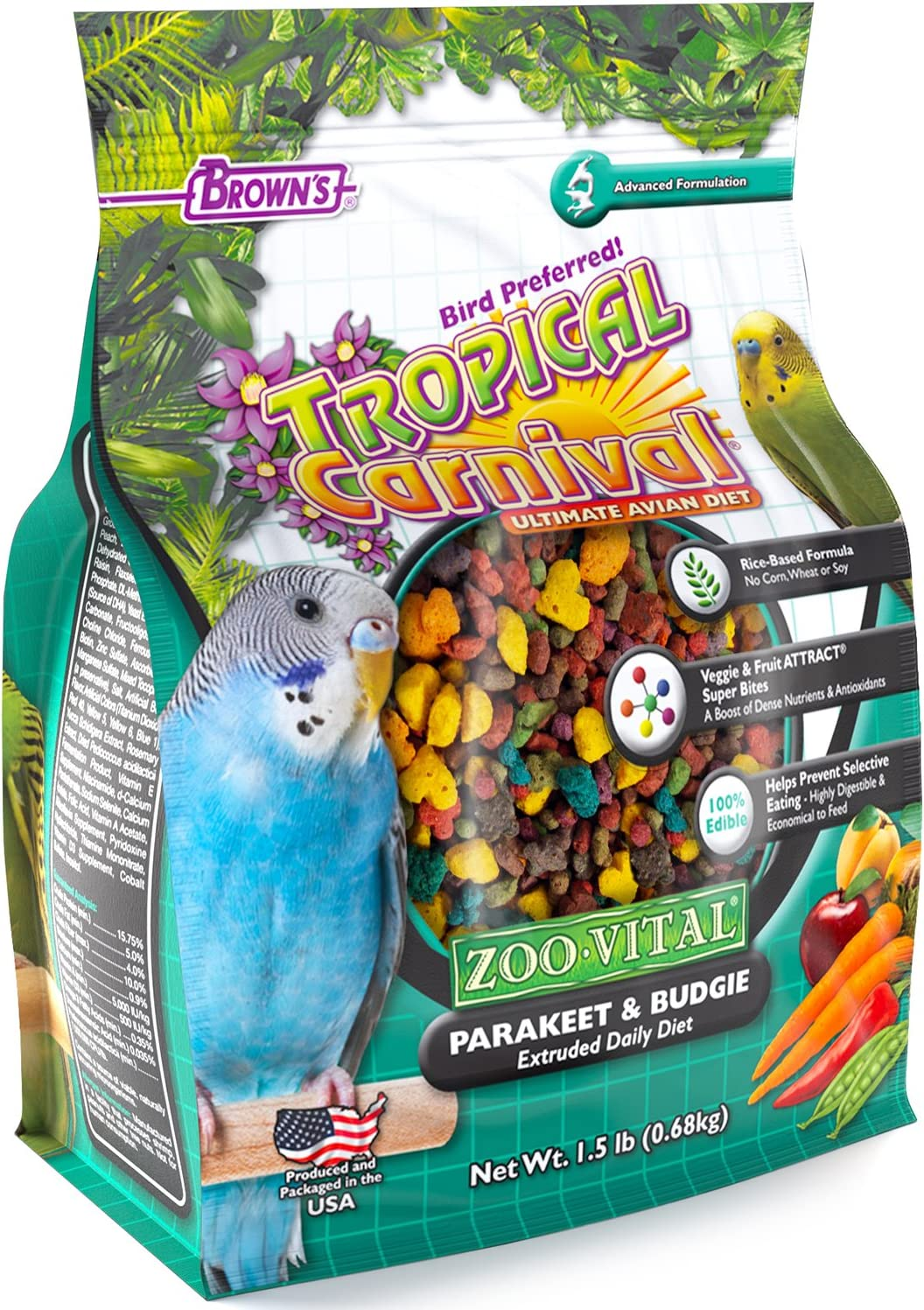 F.M. Brown's Tropical Carnival Zoo-Vital Parakeet & Budgie Pellet Daily Diet with with Probiotics for Healthy Digestion, Grain-Free, Rice-Based Formula, 100% Edible, Prevents Selective Eating