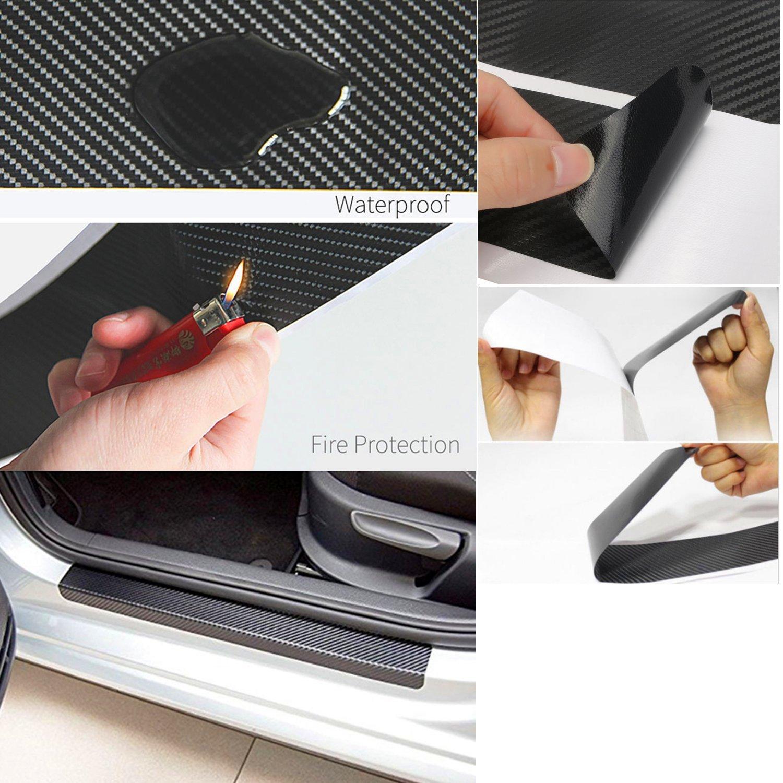 NF orange 4X 5D Carbon Fiber Car Scuff Plate Door Sill Sticker Panel Protector and a Scraper 5D Sticker