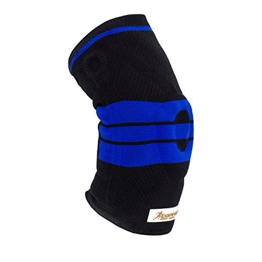 Copper Body Shop Knee Support - Strong and Breathable Knit - Lightweight - Silicone Padding- Compression Prevents Swelling and Relieves Pain and Joint Discomfort (Black w/Blue Stripe) (X-Large)