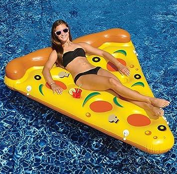 BMDHA Adulto Piscina Flotador Niño Monturas Inflable Pizza Espesar El Material De PVC Cama Flotante En El Mar Anillo De Natación Juguetes Acuáticos: ...