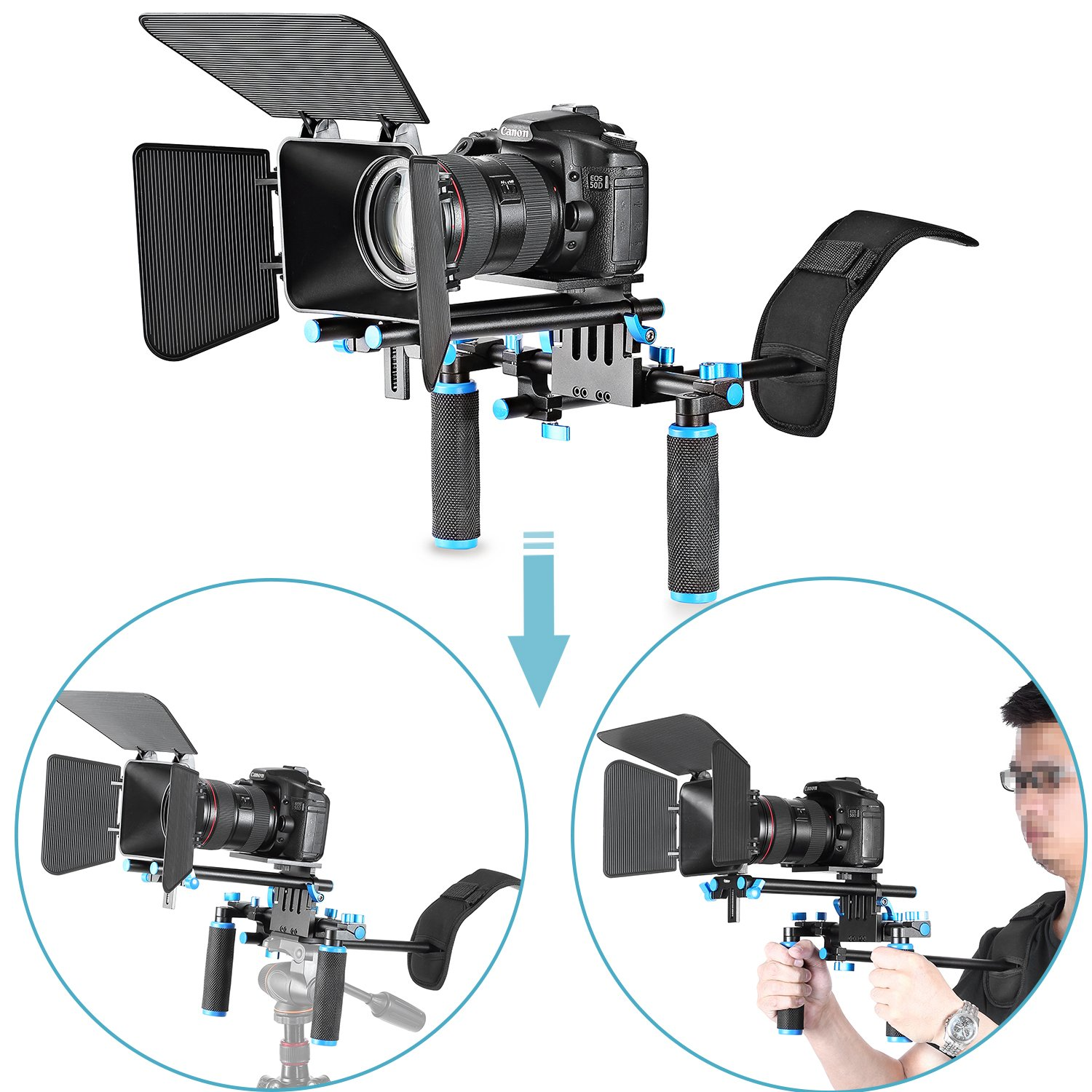 Neewer DSLR Movie Video Making Rig Set System Kit for Camcorder or DSLR Camera Such as Canon Nikon Sony Pentax Fujifilm Panasonic,Include:(1) Shoulder Mount+(1) 15mm Rail Rod System+(1) Matte Box by Neewer