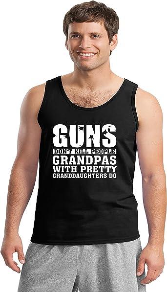 Comical Shirt Mens Guns Dont Kill People Grandpas with Pretty Tank Top