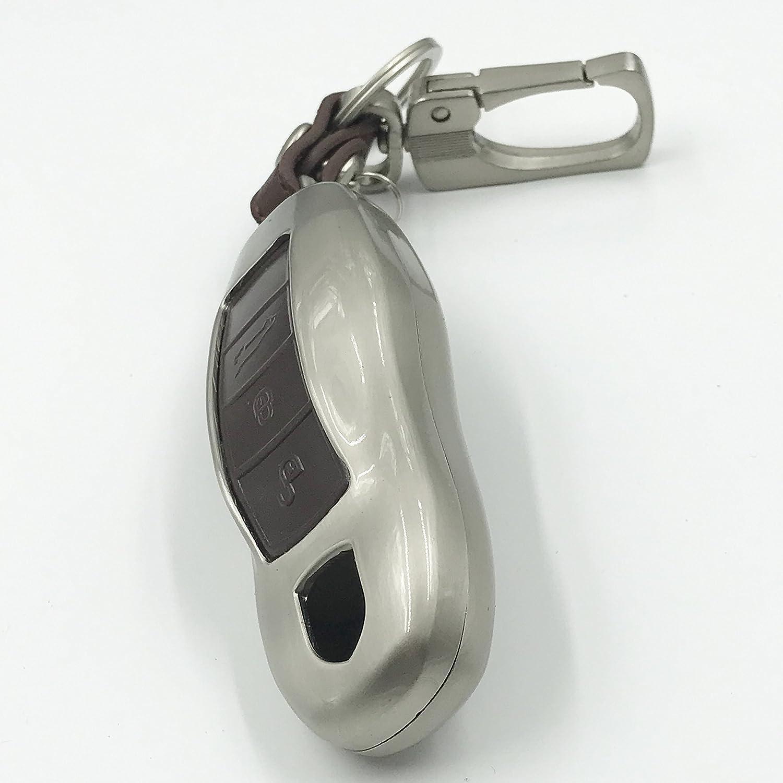 Coque pour Cl/é /Électronique de Voiture Porsche Alliage de Zinc et Cuir V/éritable Porte-cl/és de Portefeuille pour Porsche Panamera Boxster Cayman 911 Cayenne Macan Turbo