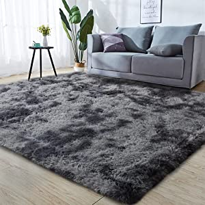 GKLUCKIN Shag Ultra Soft Area Rug, Non-Skid Fluffy 5'x8' Tie-Dyed Grey&Blue Fuzzy Indoor Faux Fur Rugs for Living Room Bedroom Nursery Decor Furry Carpet Kids Playroom