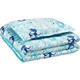 AmazonBasics Kid's Comforter Set - Soft, Easy-Wash Microfiber - Twin, Blue Mermaids