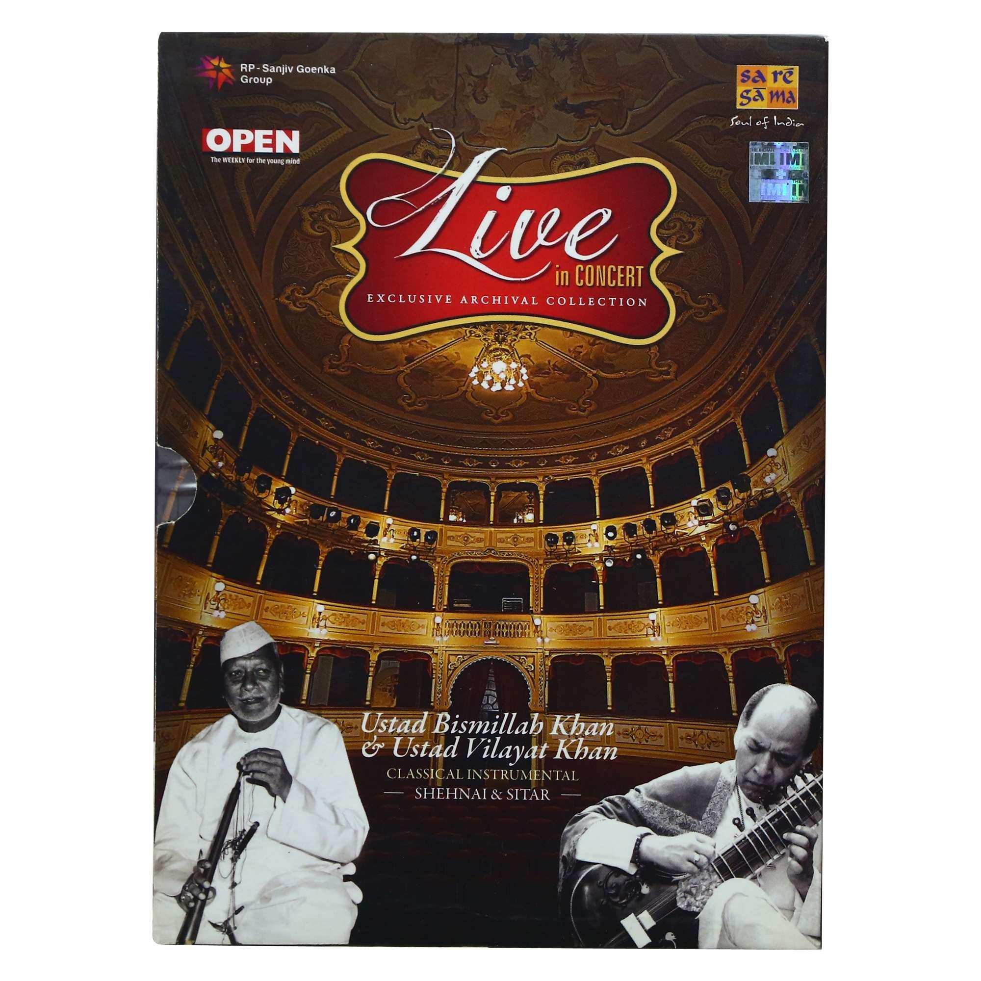 Live In Concert: Ustad Bismillah Khan & Ustad Vilayat Khan (Classical Instrumental): Shehnai and Sitar (Set of 2 Audio CDs) by Saregama