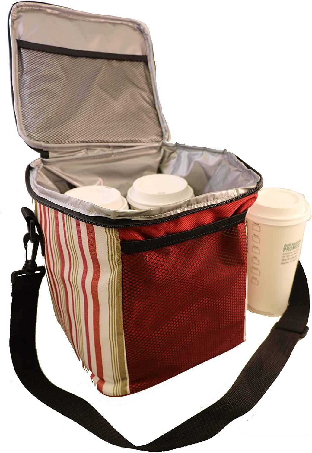 BevBag Insulated Beverage Carrier Extra Tall With Removable Shoulder Strap (Red, 4-Cup Carrier). BevTray sold separately. Great for Uber Eats, DoorDash, GrubHub
