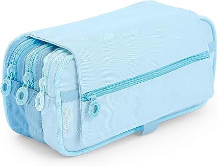 Estuche Portatodo Triple de Amplios Apartados Interiores con Cremallera Individual, Estuche para Material Escolar y Viaje. (Blush Azul): Amazon.es: Oficina y papelería