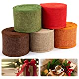 5pcs Burlap Ribbon Rolls- 27 Yards 2.4'' Wide Natural Burlap Weave Ribbon for Autumn Harvest Fall Wreath Decoration Rustic Gi