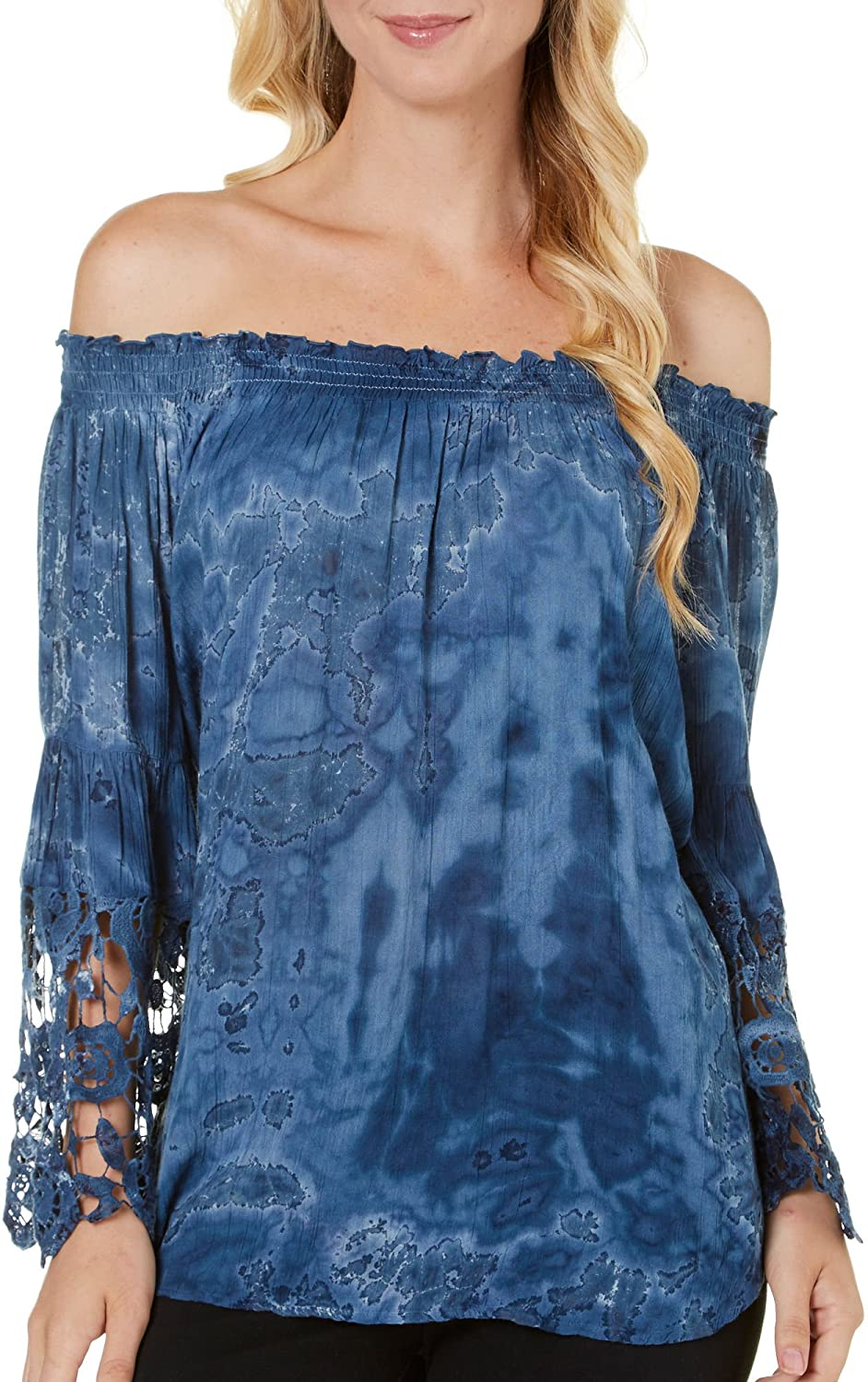 Women's Tunic Top - Tie Dye Lace Flared Sleeve Peasant Shirt