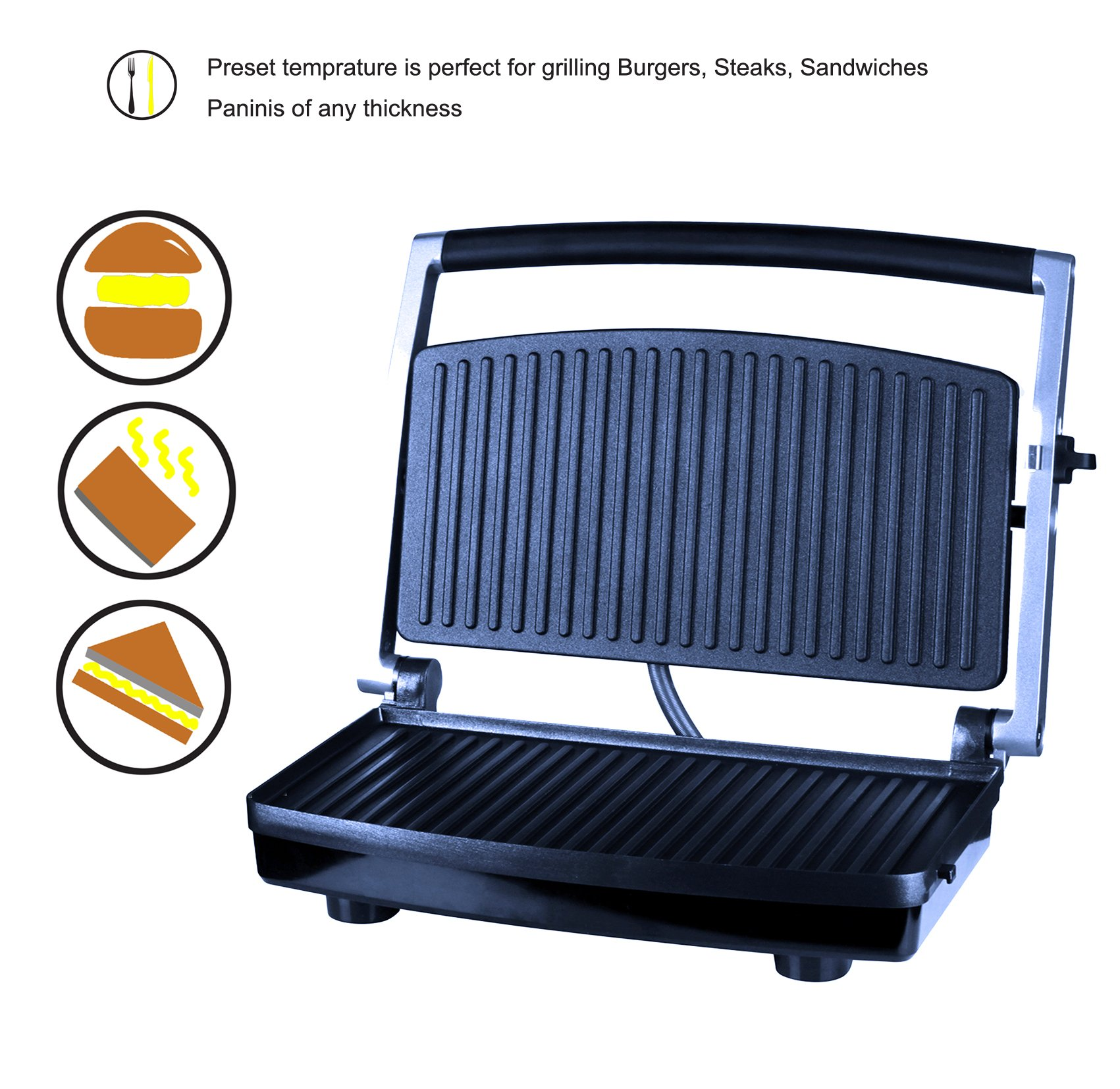 ZZ SM303 Burger Grill, Sandwich Maker, Panini Press, Steaks Griller or Grill, Silver by ZZ (Image #2)