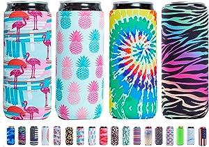 Slim Can Sleeves - Neoprene Bottle Insulator Sleeve Set of 4 Can Beverage Coolers for 12oz Energy Drink & Beer Cans (Multiple styles)