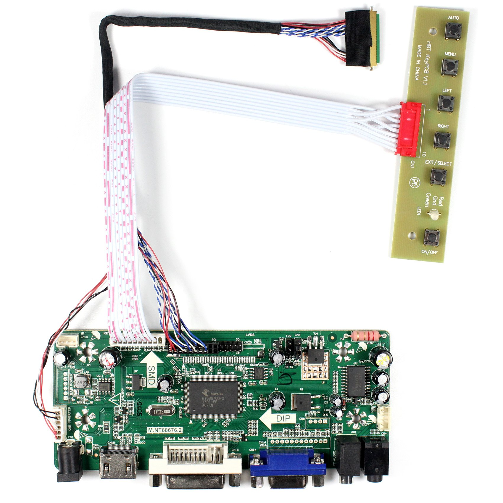 HDMI+VGA+DVI+Audio Input LCD Controller Board For LP156WH2 LP156WH4 15.6'' 1366x768 LED Backlight 40Pins LCD Panel